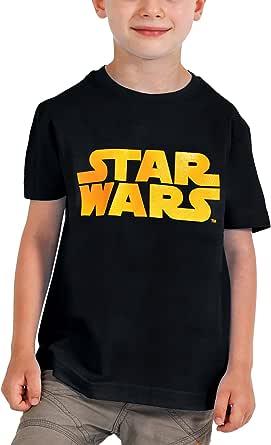 Star Wars - Camiseta Negra para Niños- Emblema Naranja - M