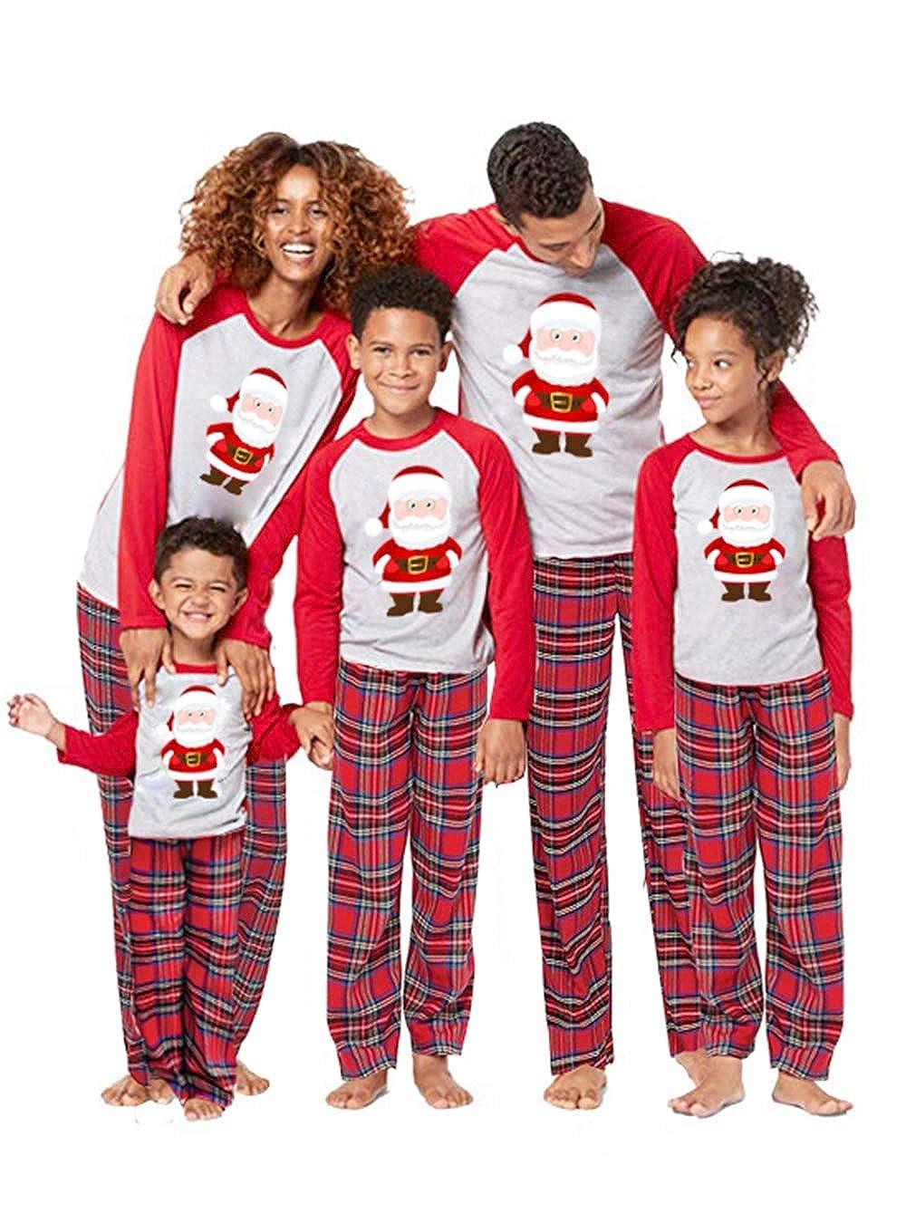 Family Matching Christmas Pajamas Santa Claus Print 2Pcs PJs Sets Long Sleeve T-Shirt+Plaid Long Pants Sleepwear Homewear