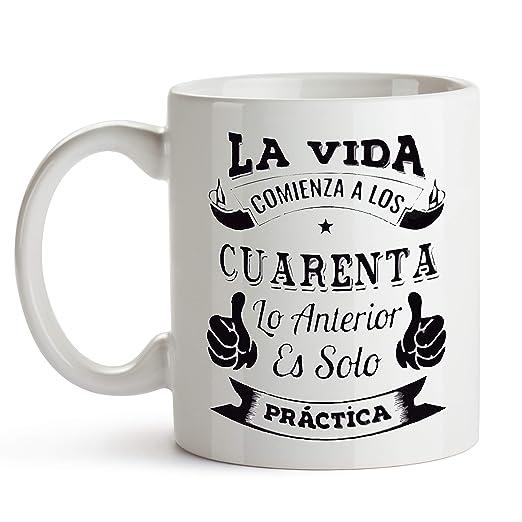 Taza de cerámica con Frase Divertida La Vida Comienza a los ...