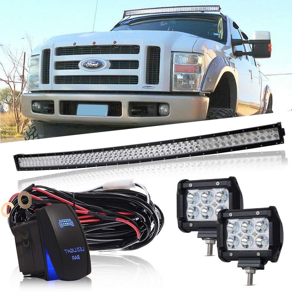 DOT 54' Inch Curved Led Light Bar Combo Grill Windshield Bumper Light Bar + 4Inch Offroad Led Fog Light + 1x Rocker Switch + 1x Wiring Harness for Truck Ford Toyota Tundra Chevy Boat Jeep GMC UTV QUAKEWORLD