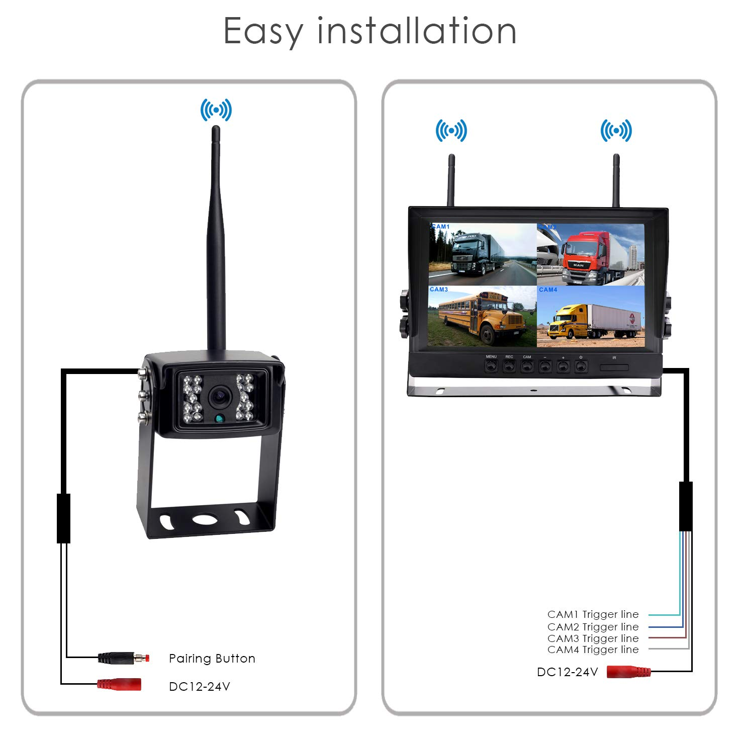 "Trucks CAMONS Digital Wireless Backup Camera for RV 7/"" Quad Split No Flicker, Built-in DVR 120/°HD Night Vision IP68 Waterproof Camera Rear//Side//Front with Mic Shenzhen Topwell Electronics Co Trailer Backup Camera with Monitor Ltd T-DW-7150R"