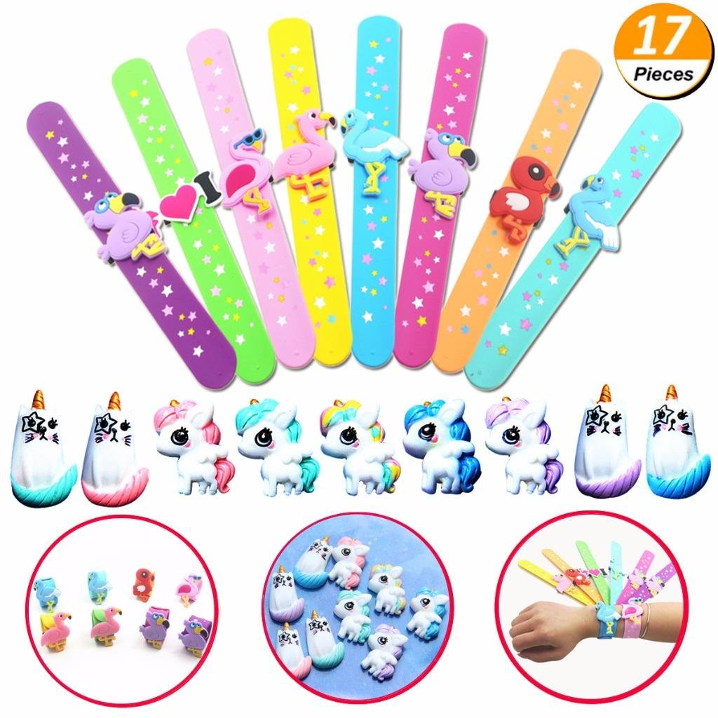 Mcree 17Pcs Flamingo Party Set-8 Slap Bracelets 9 Slime Beads, Flamingo Party Supplies Kids Party Favors Decor Novelty Toy, Slim Sweety Candy Color Girls Phone Decor, Diy Crafts Ornament Scrapbook