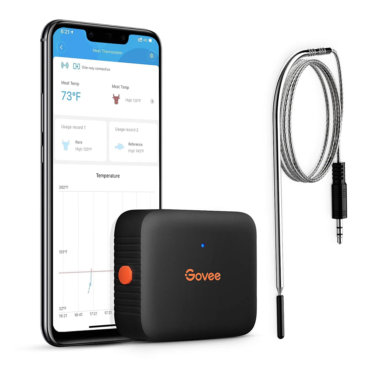 Govee Bluetooth Meat Thermometer, Kitchen Cooking Thermometer with 1 Probe, 230ft Wireless Remote Monitor, Smart Alert Notification for BBQ Grilling Oven