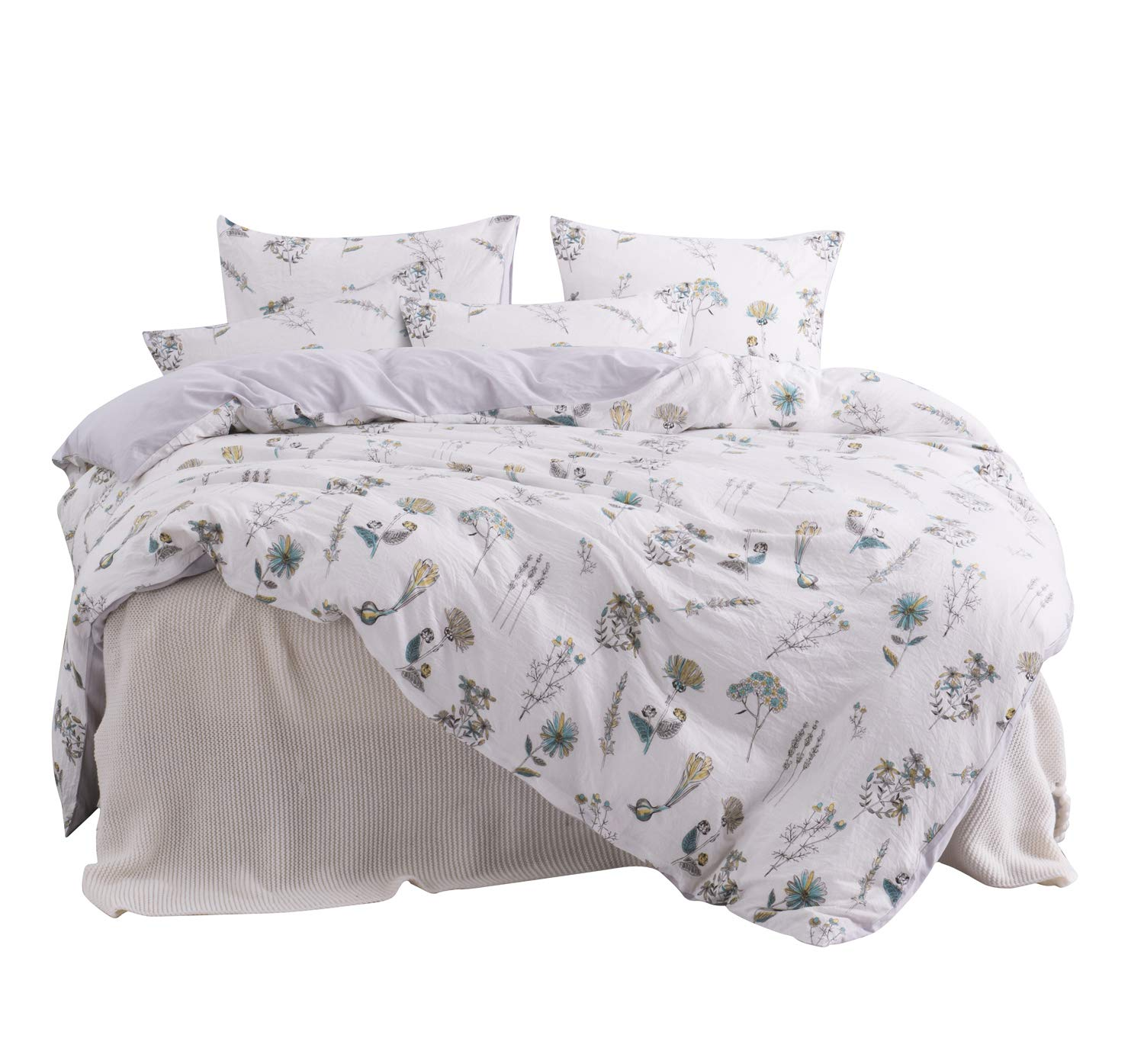 ughome Queen Flower Duvet Cover Set, Supper Soft Lightweight White Floral Hotel Bedding Sets Washed Cotton Technology Comforter Cover with 2 Pillowcases and 1 Duvet Cover(Queen, White)