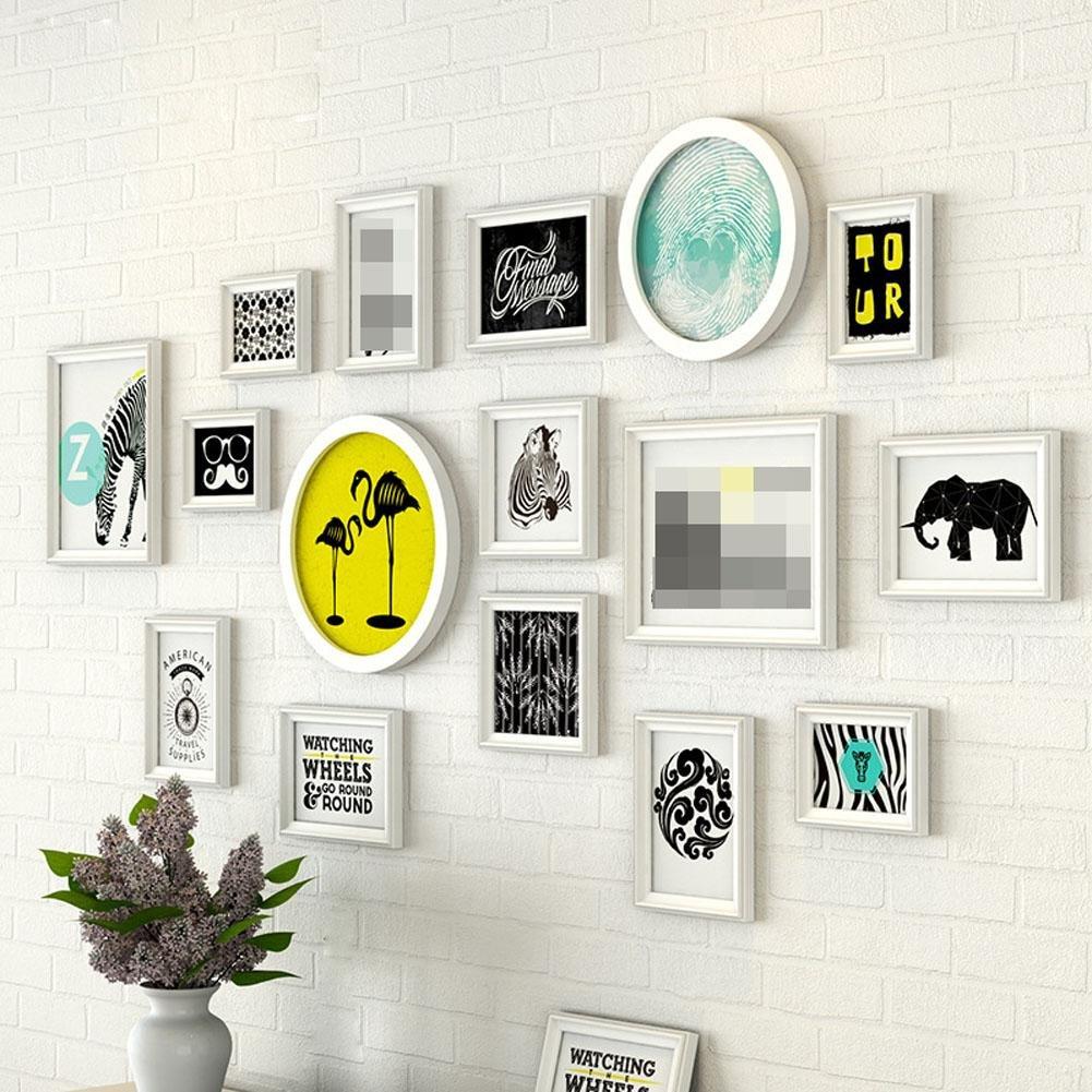 ZZZSYZXL Massivholz-Foto Wall 16 Rahmen minimalistisch moderne Wohnzimmer Schlafzimmer kreative Portfolio , white