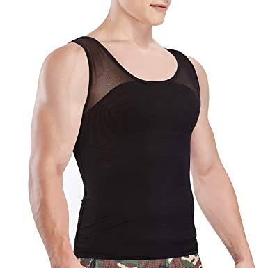 1a0ff669 Image Unavailable. Image not available for. Colour: VENI MASEE Slim Men's  Compression Shirt to Hide Gynecomastia Moobs Chest Slimming ...
