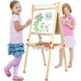 BATTOP Double Sided Adjustable Kids Easel Drawing Board With Magnetic Alphabet Numbers (3 in 1)