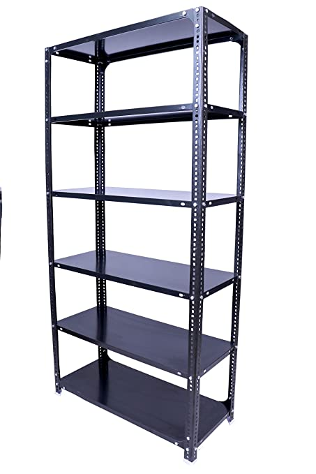 Menage Metal Slotted Angle Rack,(72 x 30 x 18) Feet with 6 Shelves/Plate  (Grey)
