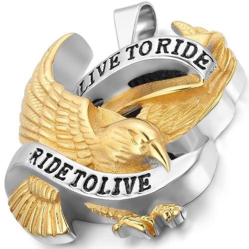 Ride to Live Biker Ring Adler Flügel Herren Männer Edelstahl Live to Ride