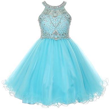 Review CrunchyCucumber Stunning Rhinestones Halter Neck Wired Tulle Corset Back Flower Girl Dress