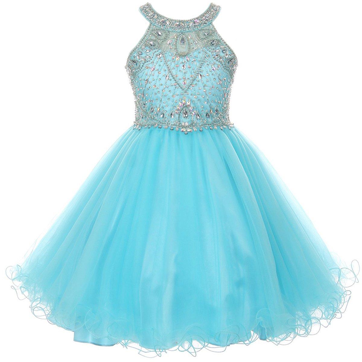 Big Girls Stunning Rhinestones Halter Neck Wired Tulle Corset Back Flower Girl Dress Aqua - Size 10