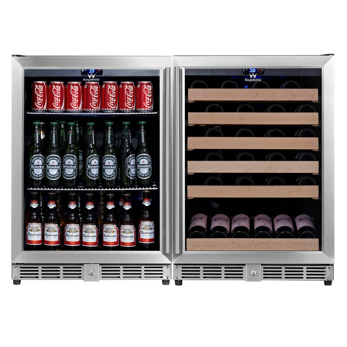 KingsBottle 2-Zone Wine and Beverage Combo Refrigerator, Holds 160 Cans and 46 Bottles, Stainless Steel with Glass Door