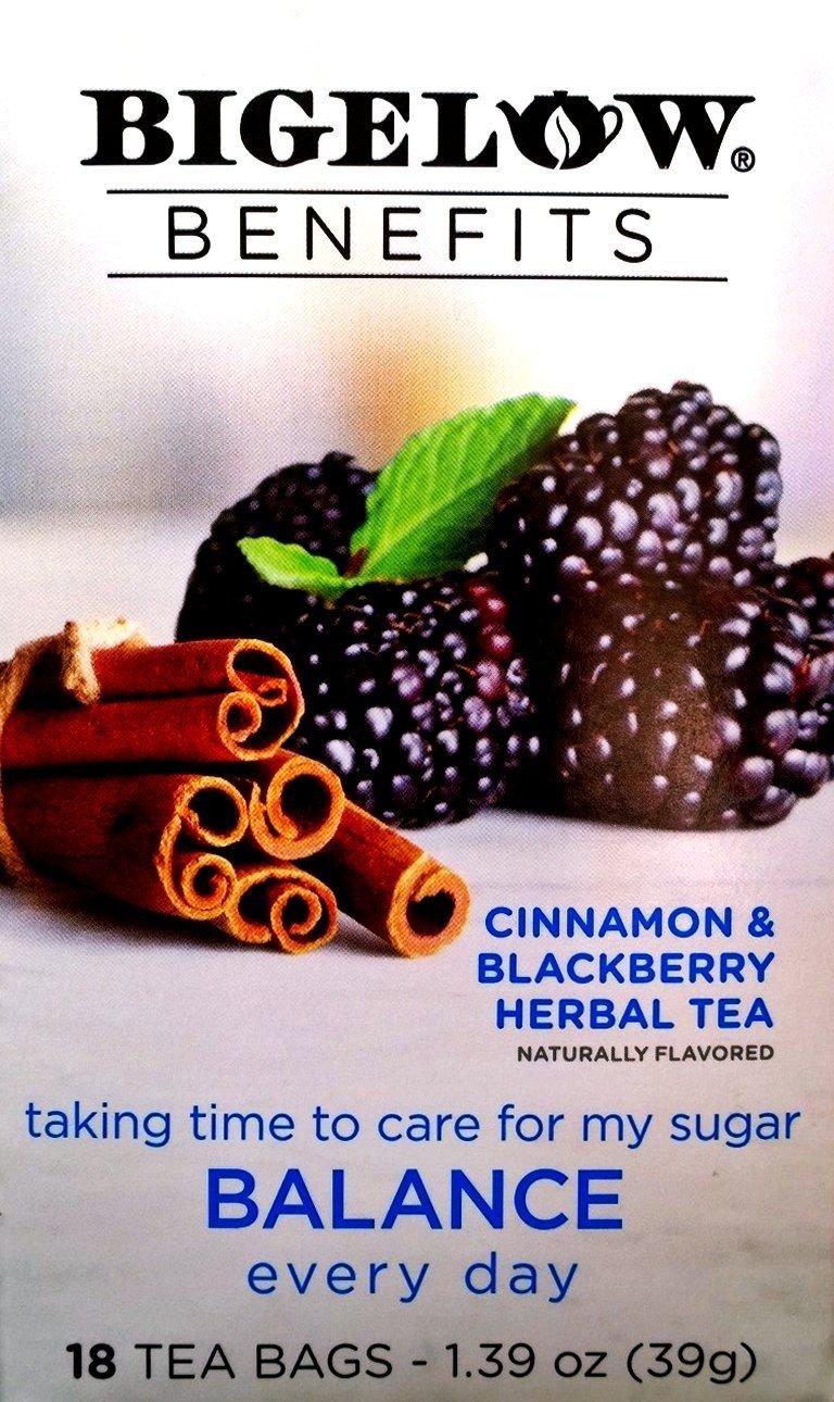 Bigelow Benefits Herbal Tea (Pack of 2) Cinnamon & Blackberry Herbal Tea, 18 Count Boxes