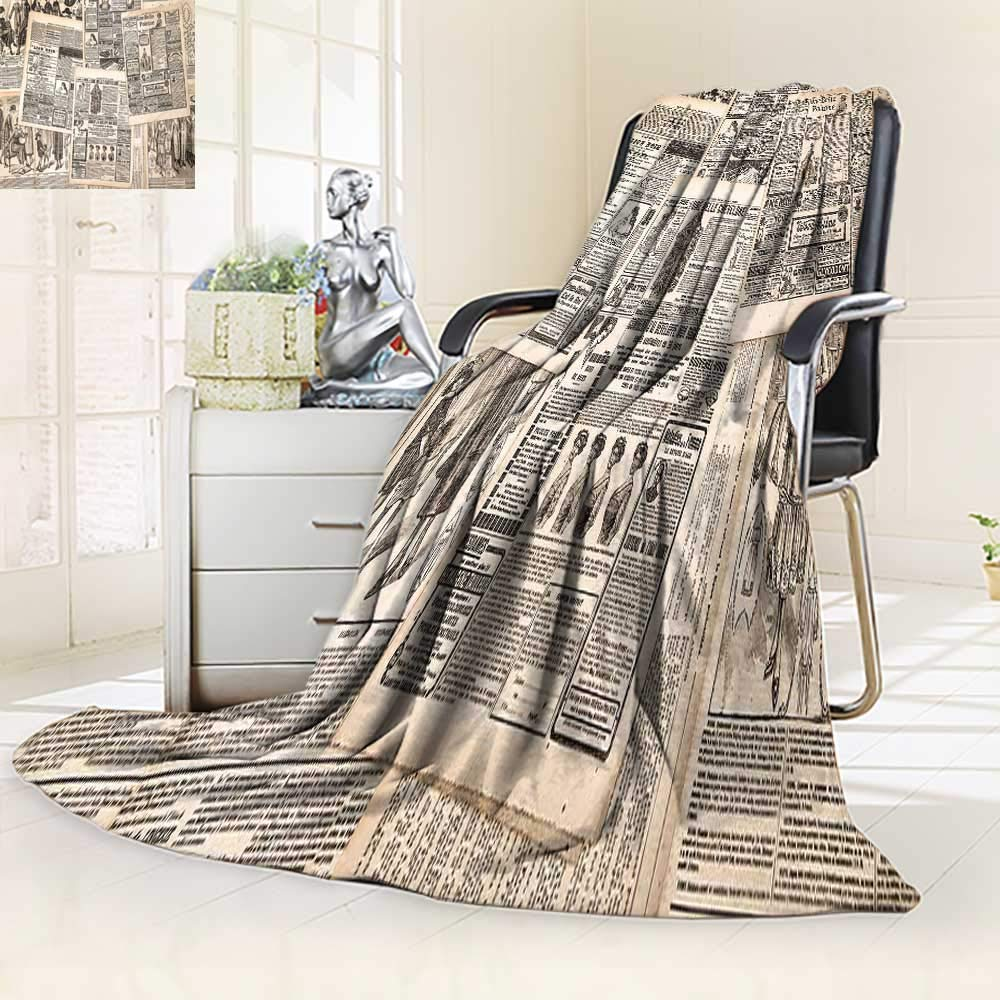 YOYI-HOME Luxury Double-Sides Reversible Printed Blanket Retro Vintage French Newspaper Nostalgic Antique DatedPast ful Design Cream Tan Taupe for Hotel Travelling and Camping Blanket/47 W by 69'' H