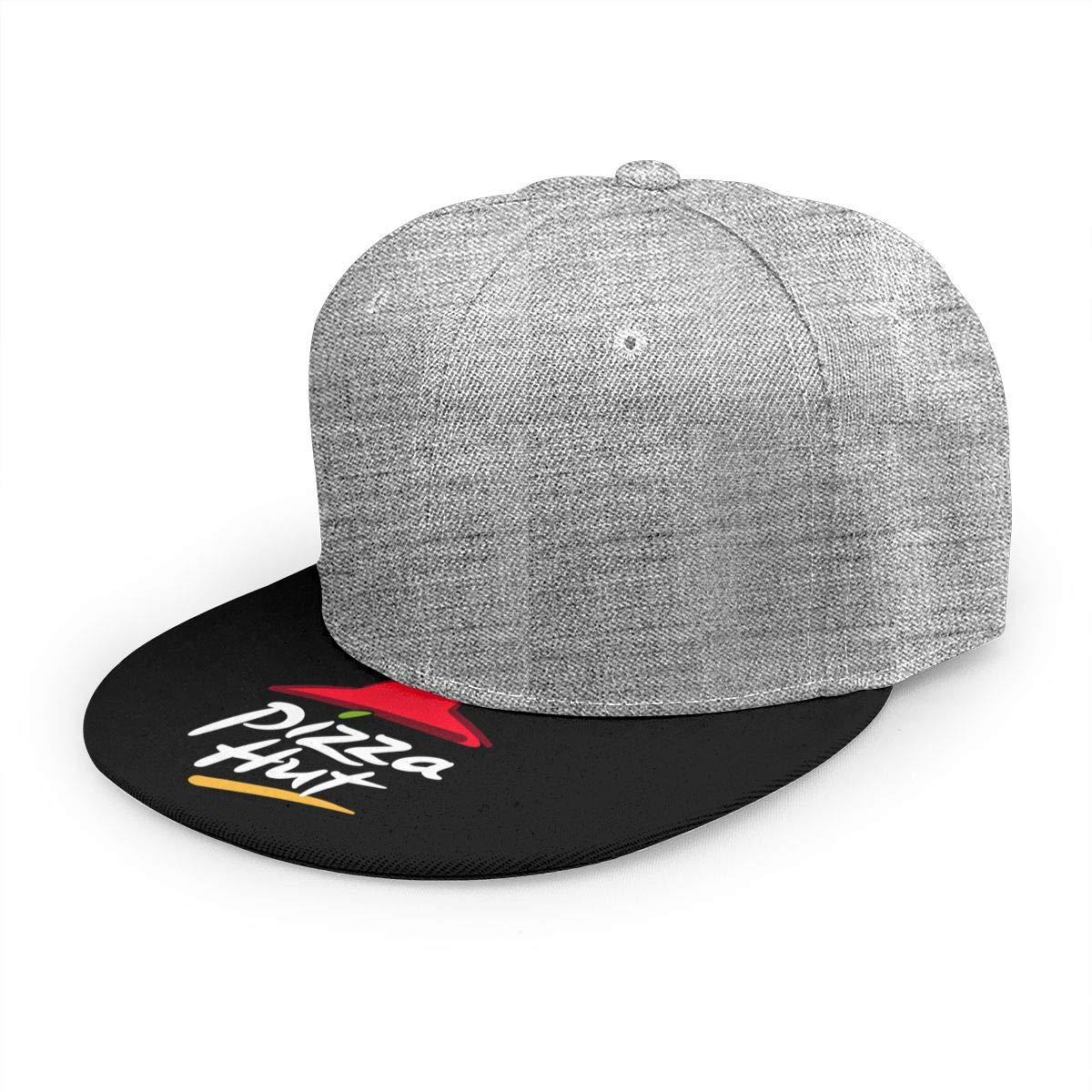 Adjustable Women Men Pizza-Hut-Logo Print Baseball Cap Flat Brim Cap Hats Hip Hop Snapback Sun Hat Boys Girls Gray by Apolonia