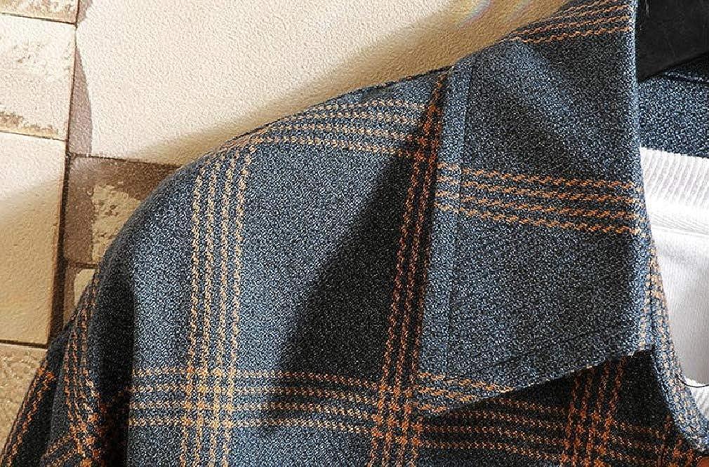 DressU Mens Japanese Autumn Plaid Pattern Square Collor Long Sleeve Shirt