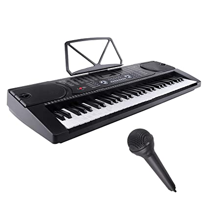 LAGRIMA Electric Piano Keyboard, 61 key Music Keyboard Piano, Portable  Electronic Musical Piano with Microphone, Power Supply, Music Stand for