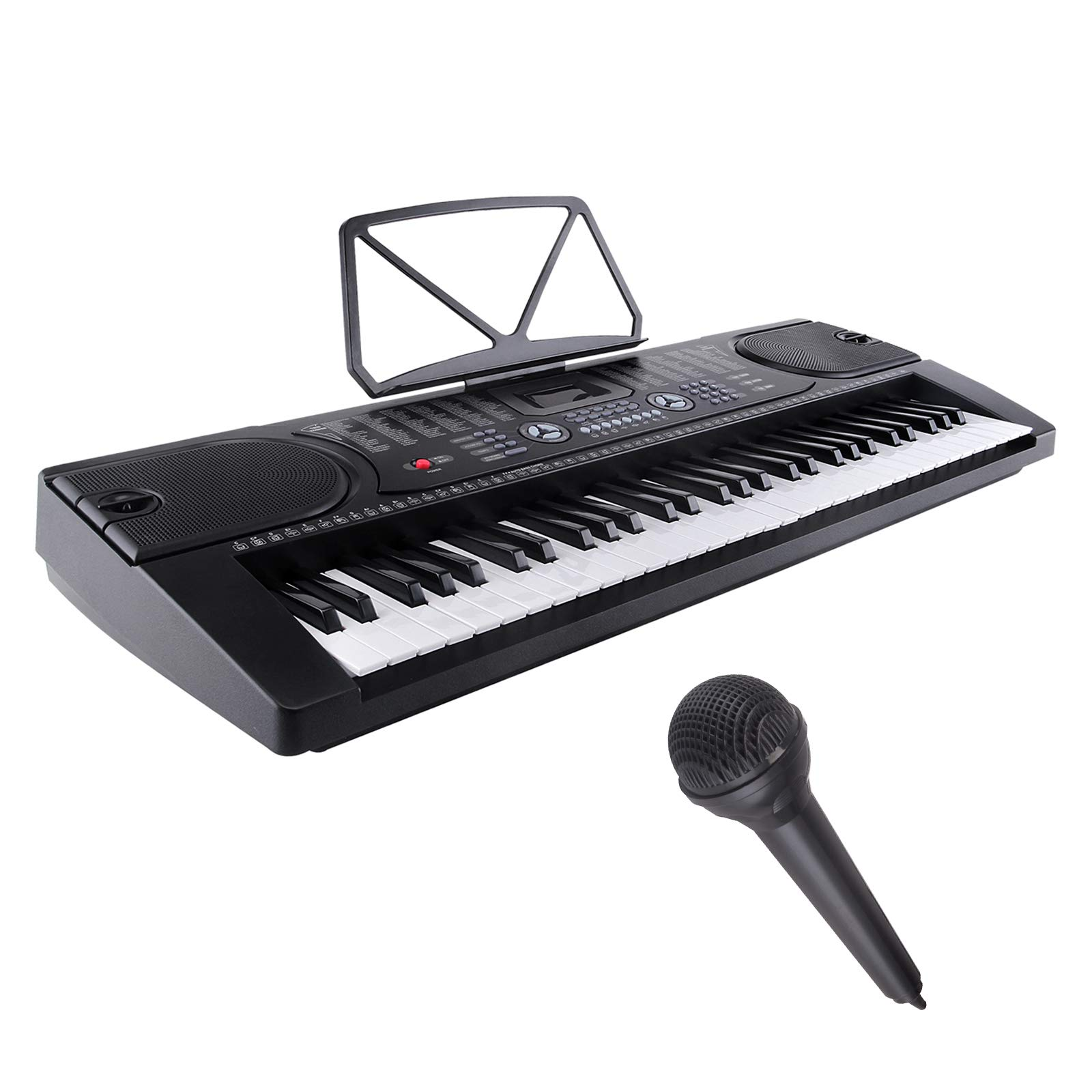 LAGRIMA Electric Piano Keyboard, 61 key Music Keyboard Piano, Portable Electronic Musical Piano with Microphone, Power Supply, Music Stand for Beginner (Kid and Adult)(Black)