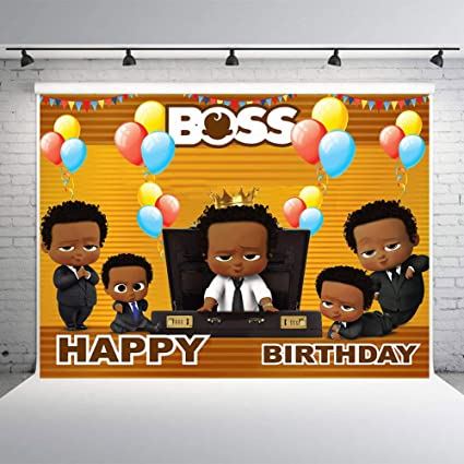 Mmy 7x5ft Boss Baby Theme Photography Backdrop African American Black Boy Kids Happy Birthday Baby Shower Party Background Cake Table Large Banner