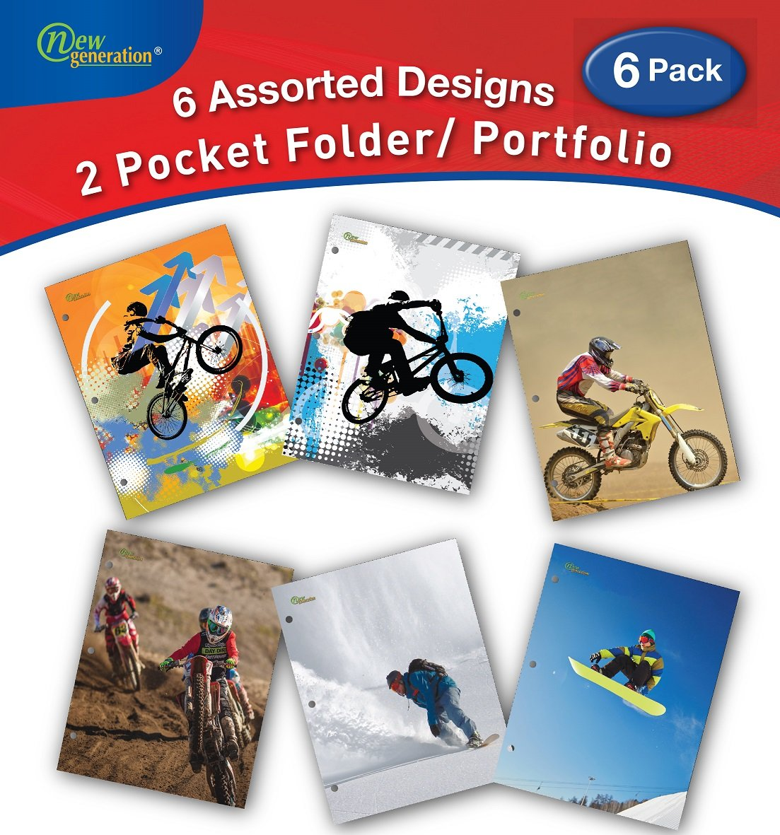 New Generation - EXTREME ZONE - 2 Pocket Folders/Portfolio 6 PACK Letter Size with 3 Hole Punch - Shine Your School Days with Great Fashion Folders. (6 PACK FOLDERS)