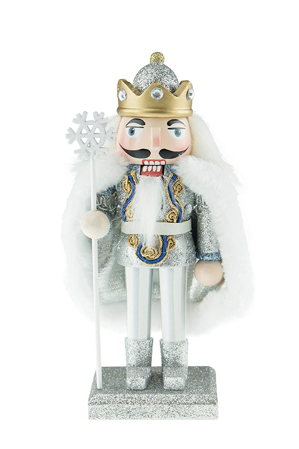 Clever Creations Chubby Snow King Nutcracker with Snowflake Staff Stands at 7 Tall 100/% Wood Sparkly Platform Holds a Royal King Wearing a Glittery Diamond Studded Crown with Fitting Cape