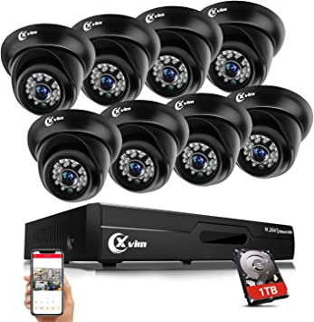 8CH NVR In//Outdoor Waterproof IR-CUT POE 8Pcs 720P CCTV Camera Security System