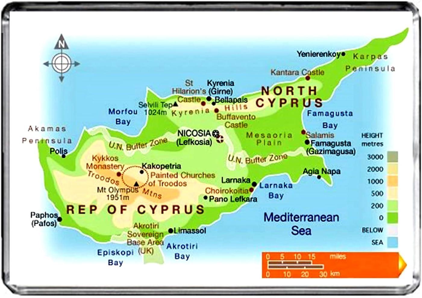 M151 MAP of Northern Cyprus Fridge Magnet Northern Cyprus Travel Refrigerator Magnet