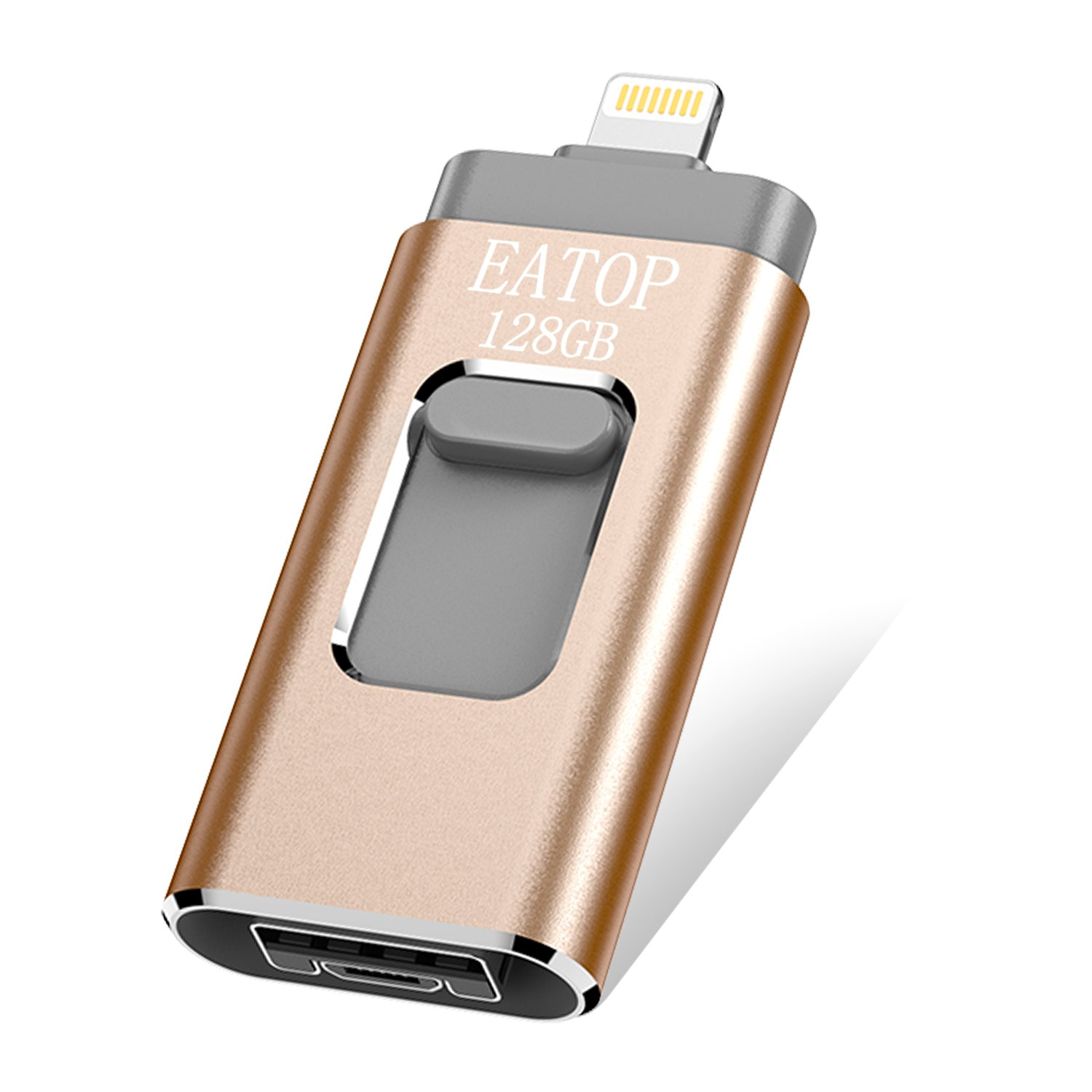 USB Flash Drives 128GB iPhone Memory Stick,EATOP External Storage Memory Stick Adapter Expansion for iPod/iPhone / iPad/Android & Computers (Gold)