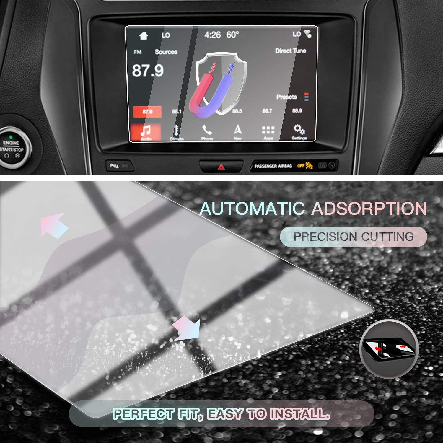Tempered Glass HD Scratch Resistance CDEFG Car Screen Protector Center Control Navigation Touch Screen Protector for 2015-2019 Ford Explorer 8 Inch