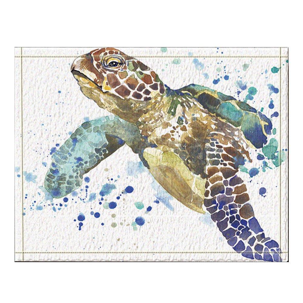 NYMB Sea Animal Lover Watercolor Brick Turtle Bath Rug, Non-Slip Floor Entryways Outdoor Indoor Front Door Mat,60x40cm Bath Mat Bathroom Rugs