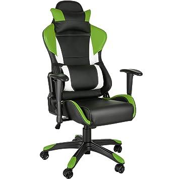 TecTake Silla de Oficina ergonomica Racing Gaming con Soporte Lumbar (Negro-Verde-Blanco | no. 402291): Amazon.es: Hogar