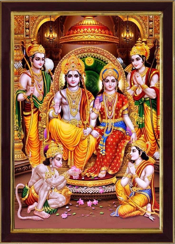 Saf Lord Ram Darbar Sparkle Coated Digital Reprint Painting 13 25 Inch X 9 25 Inch Sanfr3276 Amazon In Home Kitchen
