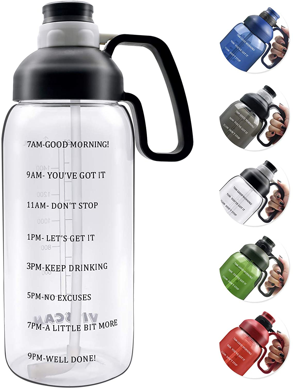 Gourdes deau /étanche avec Filtre infuseur de Fruits et Brosse de Nettoyage Favofit 1 Litre Bouteille deau de Sport avec marqueur de Temps de Motivation sans BPA