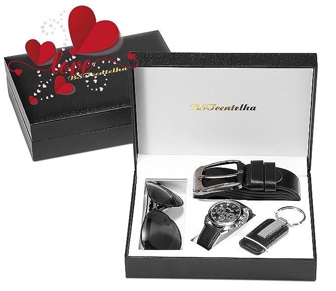 4c23bc81e1c8 BSTcentelha Mens Artificial Leather Quartz Analog Wrist Watch Belt Keychain  Sunglasses Gift Set Dark Blue Valentine s Day Present Gift