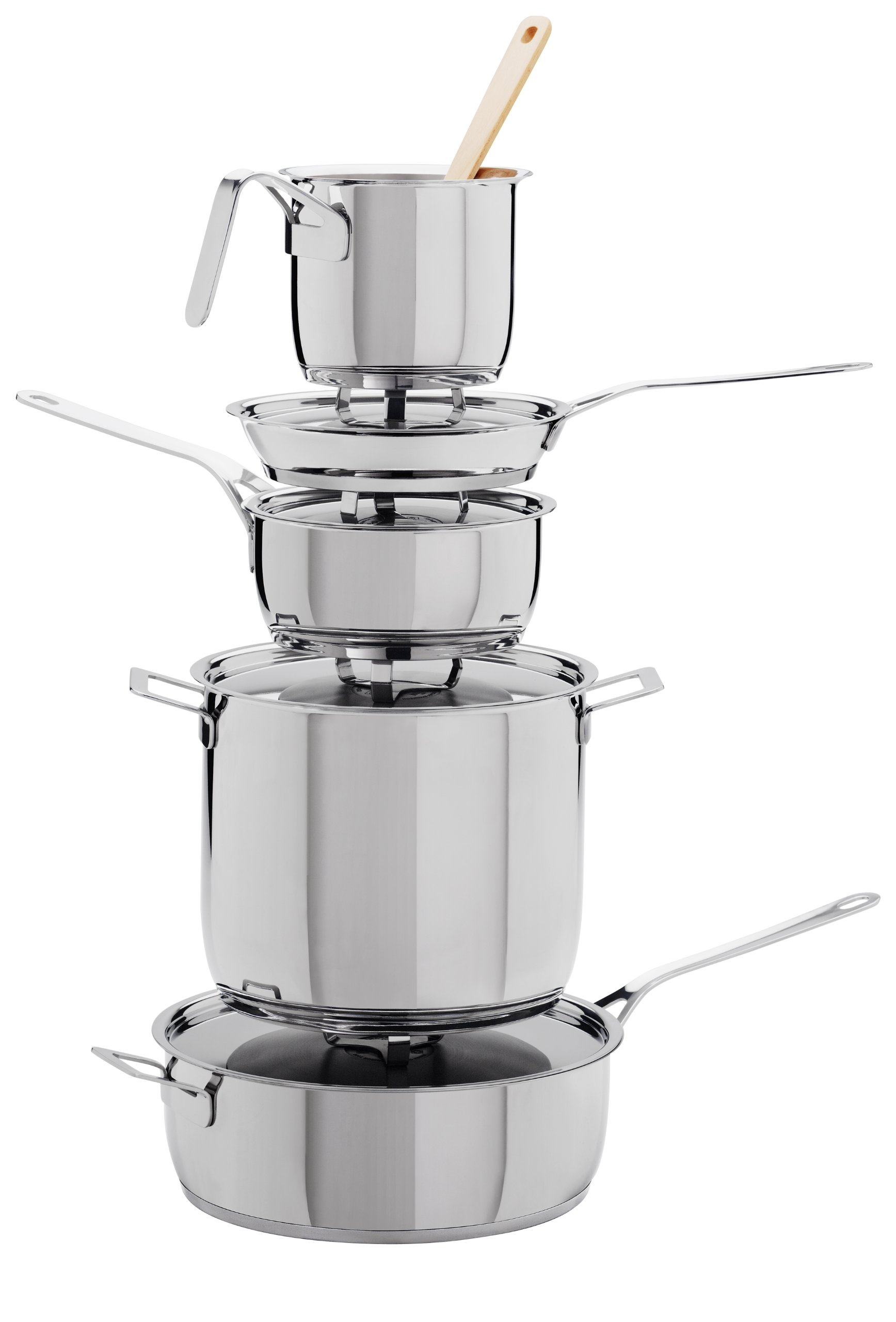A Di Alessi,AJM302''POTS & PANS'', Milk boiler in 18/10 stainless steel mirror polished,2 qt ¼ oz