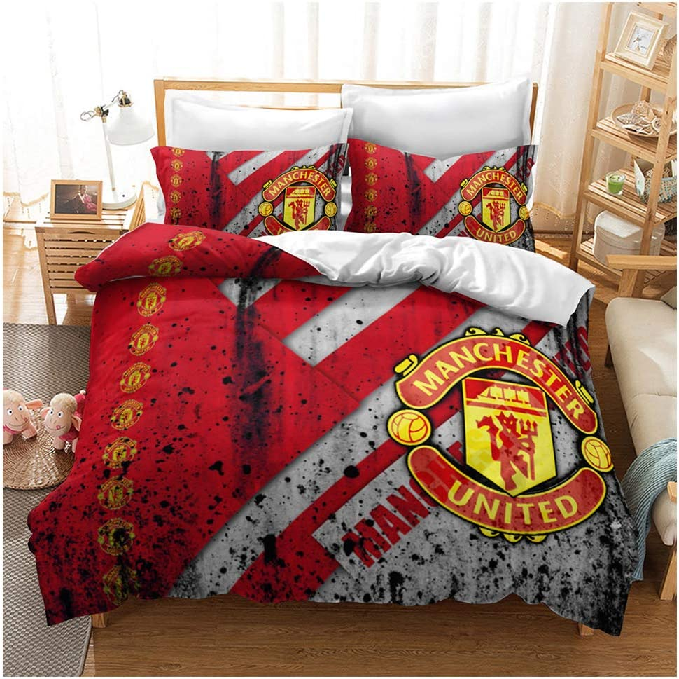 Amazon Com Hoxmoma Manchester United Football Club Duvet Cover 3d Printed Mufc Man Utd Bedding Set Bedroom Decor Quilt Covers With Pillow Cases Gifts For Kids Teenagers Football Fans Red Queen Home Kitchen