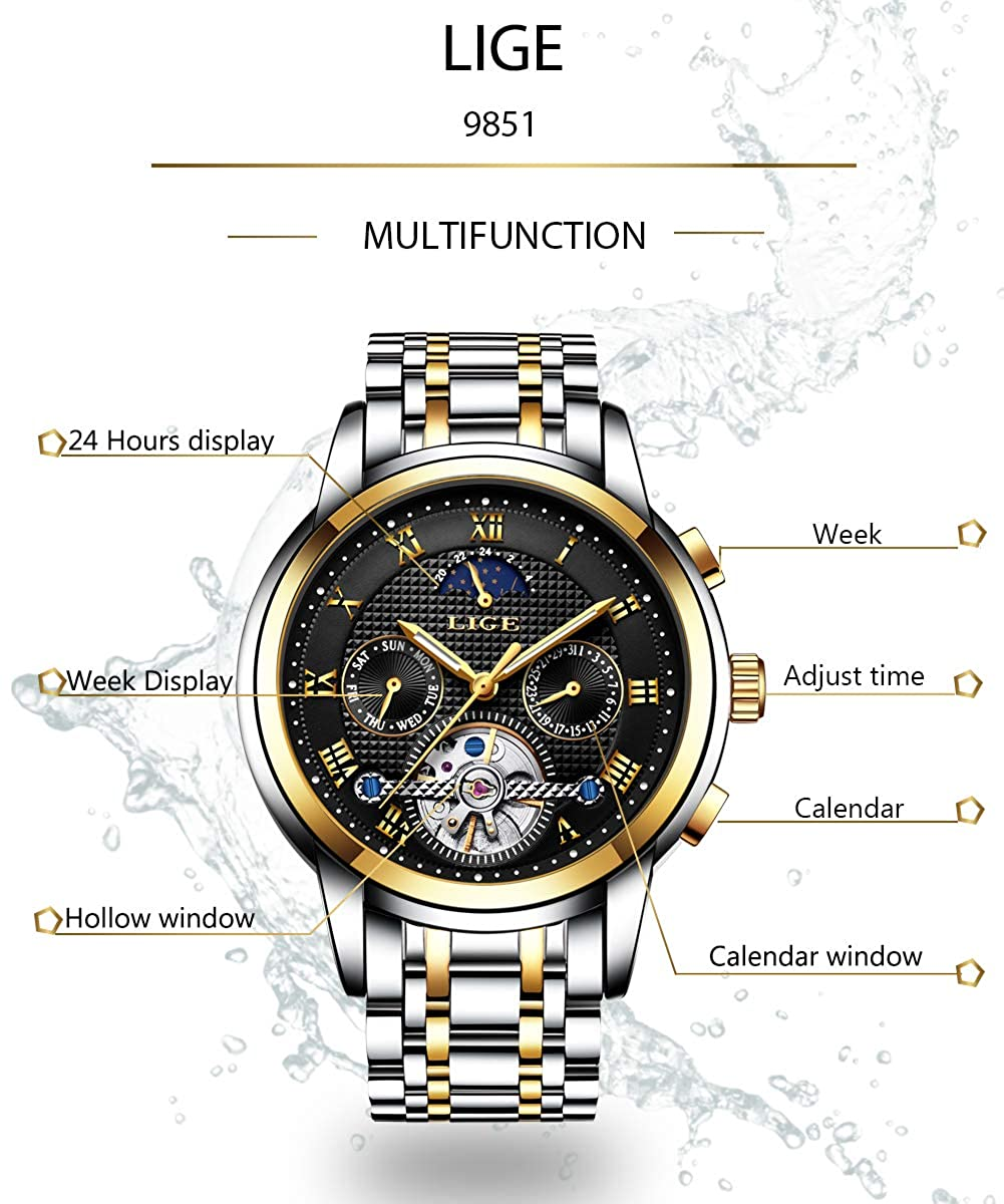 Automatik Wasserdichte Armband Uhr Mechanische Mit Edelstahl Herren 9851 Lige Klassische Stil wiZPukXTlO