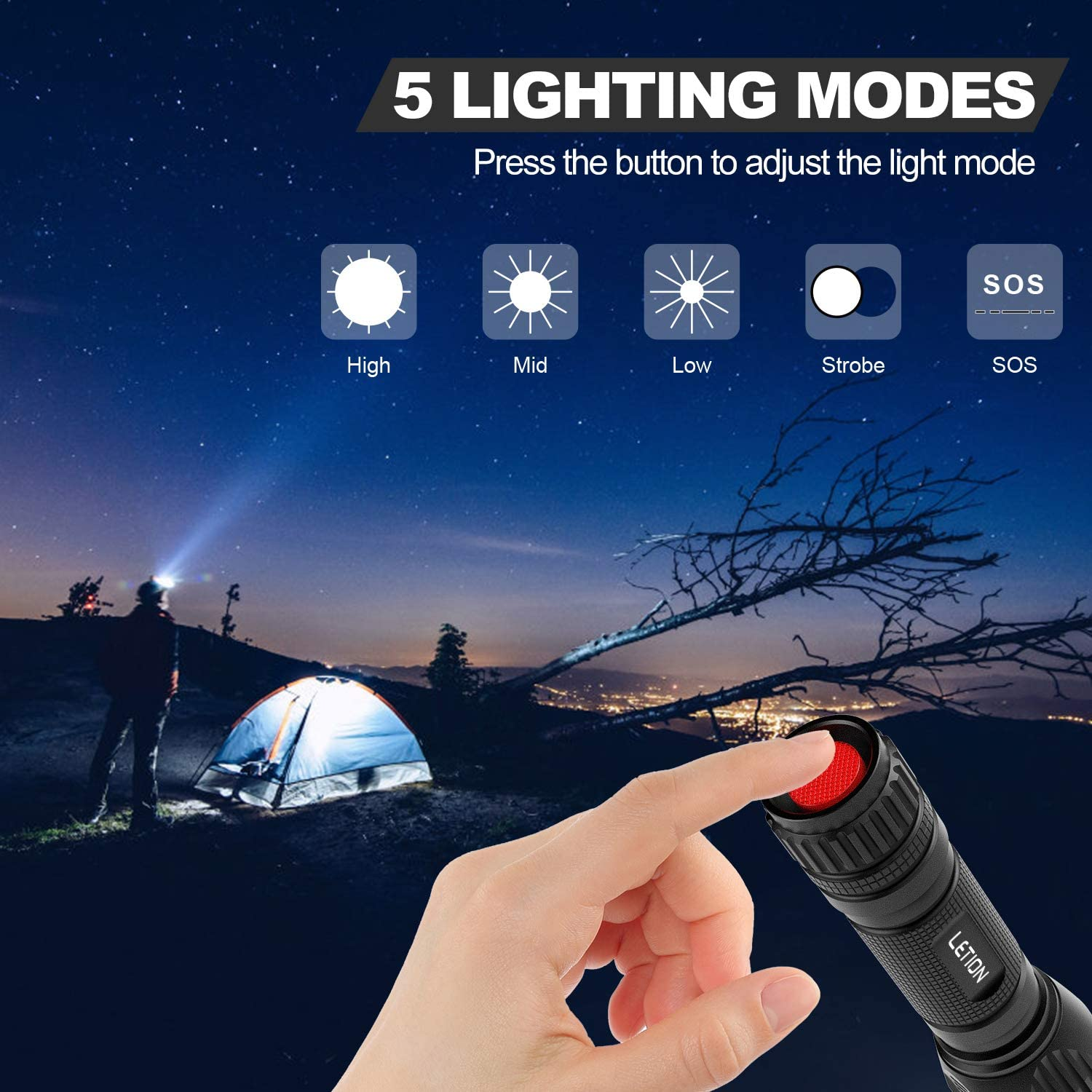 LETION LED Taschenlampe Taktische Taschenlampe Wiederaufladbare Taschenlampe 1200 Lumen 2200 mAh Mini-Taschenlampe mit 5 Modi Wasserdicht f/ür Camping Outdoor Dog Walking Night Running