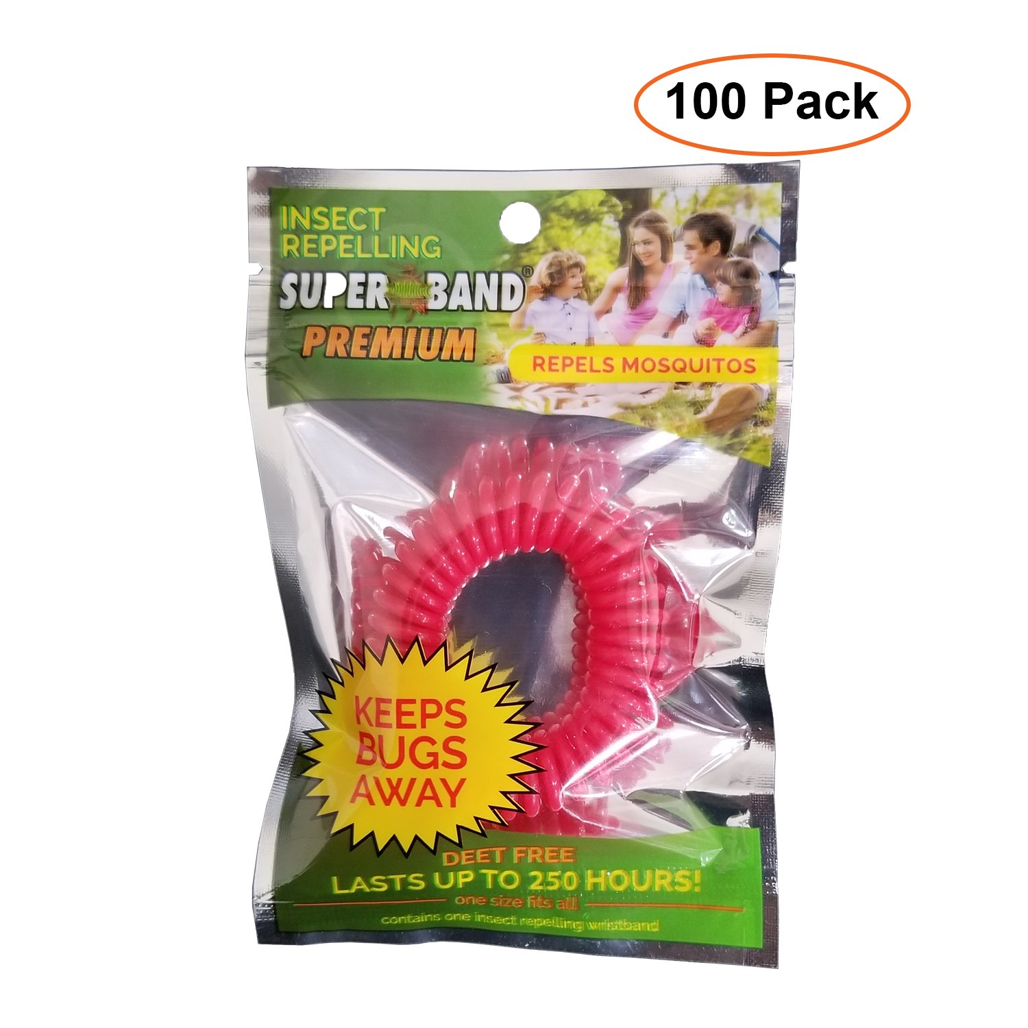 100 Pack - Evergreen Superband Non-Toxic Mosquito Repelling Wristband - Red by Evergreen Research