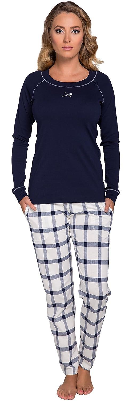 TALLA S. Italian Fashion IF Pijama Camiseta y Pantalones Mujer 1RT2 0223 (Azul Marino, S)