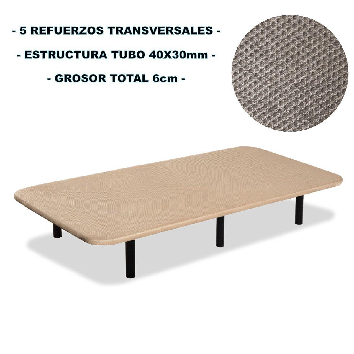 Bonitex - Base tapizada 3D 135x190cm + 6 patas, 5 refuerzos transversales, grosor 6cm
