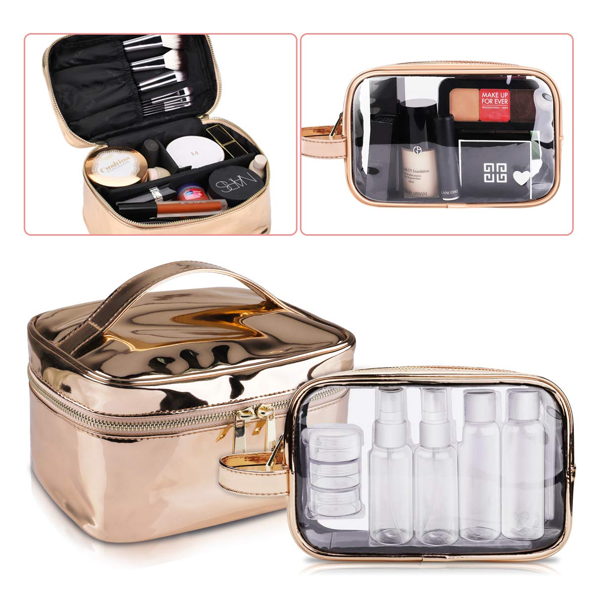 Large Cosmetic Bag & Clear Toiletry Bag Set, Morpilot Fashionable Portable Women Makeup Travel Bags with TSA Approved Toiletry Travel Bag Organizer for Packing Cosmetic Makeup Toiletry