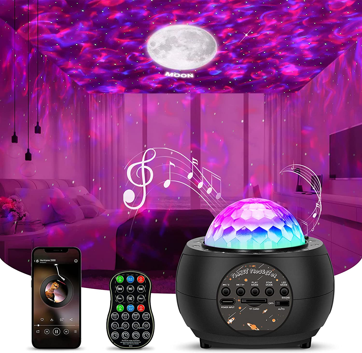 IMILLET Star Projector, 3 in 1 Planet Galaxy Projector 15 Colors Ocean Wave Night Light Projector with Remote Control & Music Speaker, Nebula Cloud Starlight Projector for Kids Bedroom Room Decor