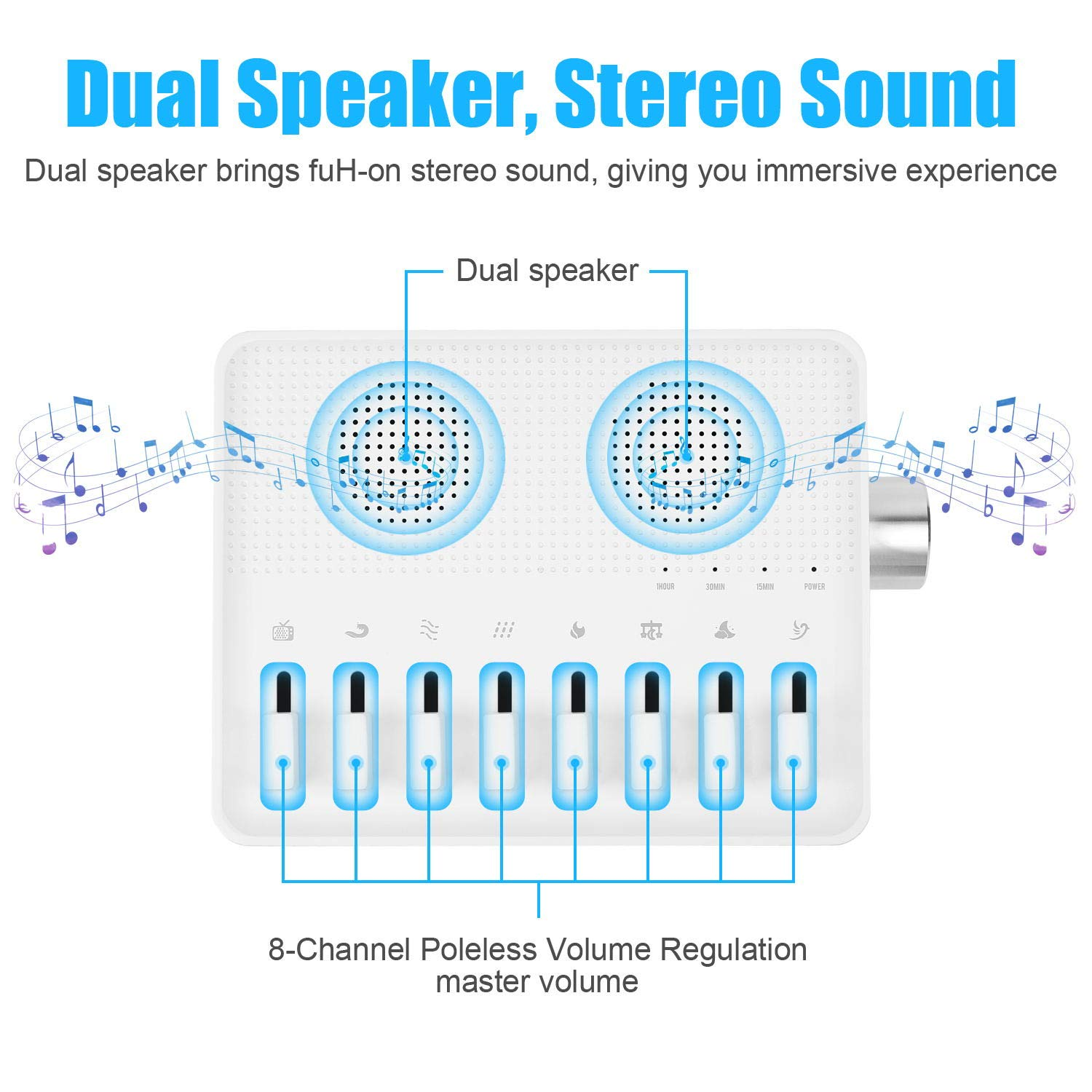 Sleep Sound Machine White Noise and 7 Natural and Soothing Sounds Mixable for Custom Made Sounds for Sleeping and Relaxation Rechargeable for 8 Hour Playtime Portable Sound Therapy Machine (White)
