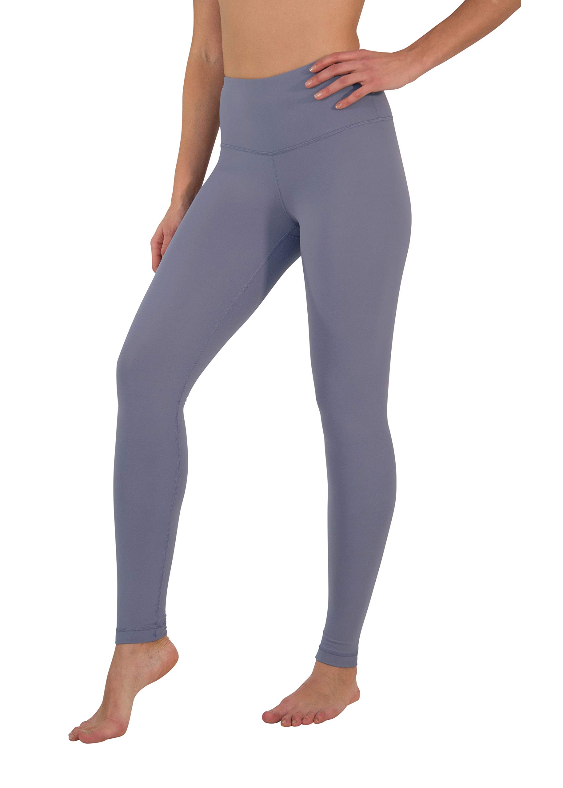 Yogalicious High Waist Ultra Soft Lightweight Leggings -  High Rise Yoga Pants - Grey Mauve - XS by Yogalicious