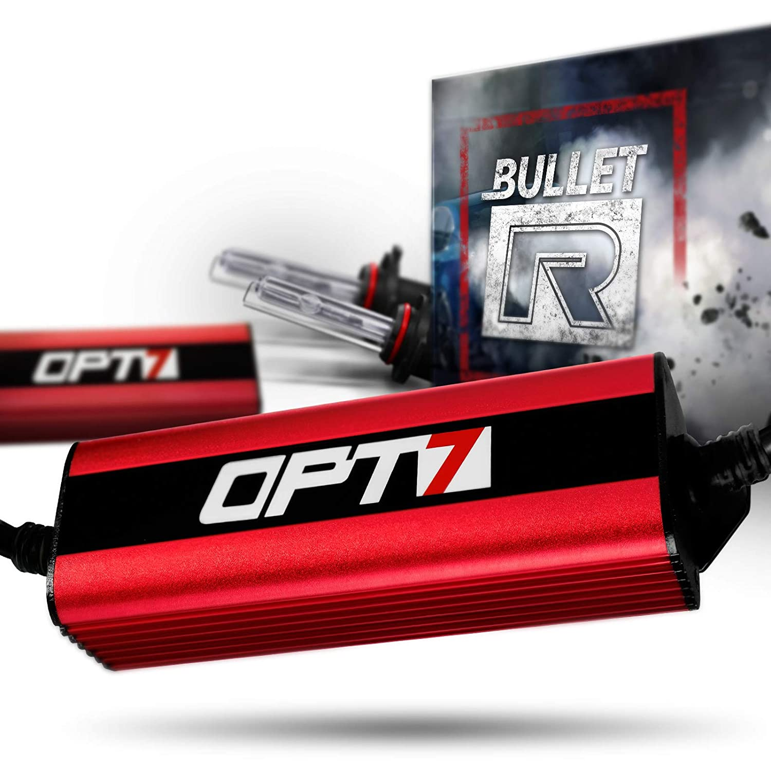 OPT7 Bullet-R H13 Bi-Xenon HID Kit - 3X Brighter - 4X Longer Life - All Bulb Sizes and Colors - 2 Yr Warranty [8000K Ice Blue Light]