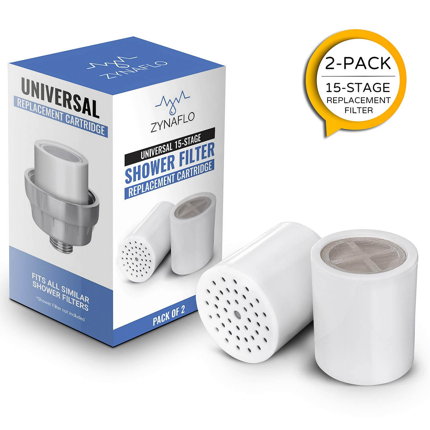 15-Stage Shower Filter Replacement Cartridge (Pack of 2) by ZYNAFLO