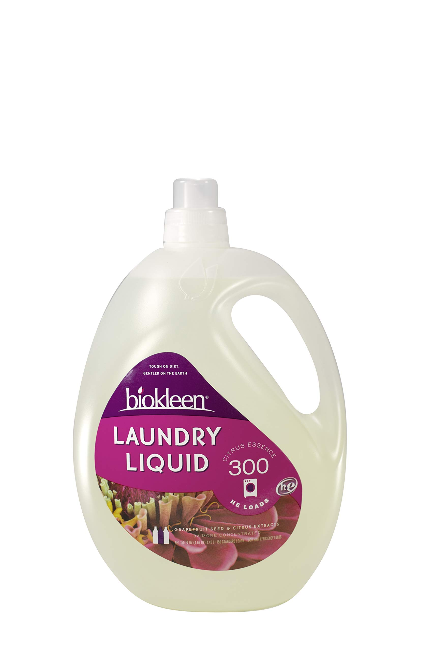 Biokleen Laundry Detergent Liquid, Concentrated, Eco-Friendly, Non-Toxic, Plant-Based, No Artificial Fragrance or Preservative, Citrus Essence, 150 Ounces - 300 HE Loads/150 Standard Loads (Pack of 3)