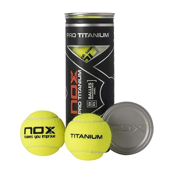 NOX Bote de 3 Pelotas de pádel Pro Titanium: Amazon.es: Deportes y aire libre