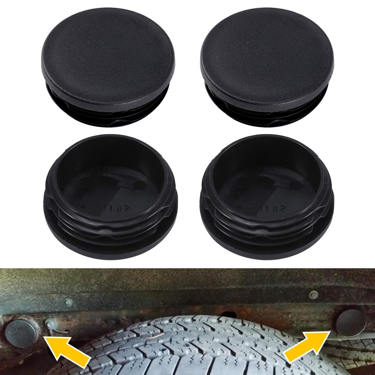 4pcs Frame Tube Hole Plugs Sammanlight Rubber Cover for Chevy Silverado 1500 GMC Sierra 1500 1999-2018 Rear Wheel Well Hole Caps